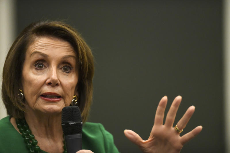 MEDIA, PA - MAY 24: U.S. House Speaker Nancy Pelosi (D-CA) joins U.S. Congresswoman Mary Gay Scanlon (D-PA) and U.S. Congresswoman Madeleine Dean (D-PA) at Delaware County Community College for a talk on education on May 24, 2019 in Media, Pennsylvania. Yesterday Pelosi sparred with President Donald J. Trump tweeting, When the extremely stable genius starts acting more presidential, Ill be happy to work with him on infrastructure, trade and other issues. (Photo by Mark Makela/Getty Images)