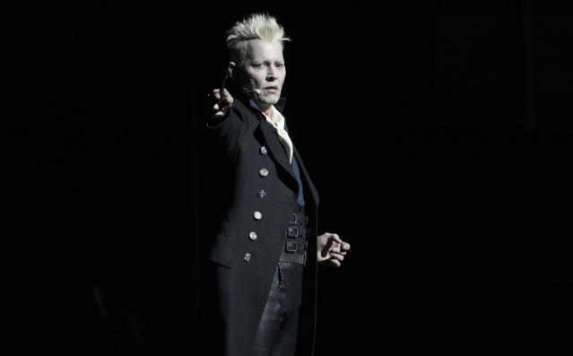 Johnny Depp appears in character as Gellert Grindelwald. (Photo: Chris Pizzello/Invision/AP)