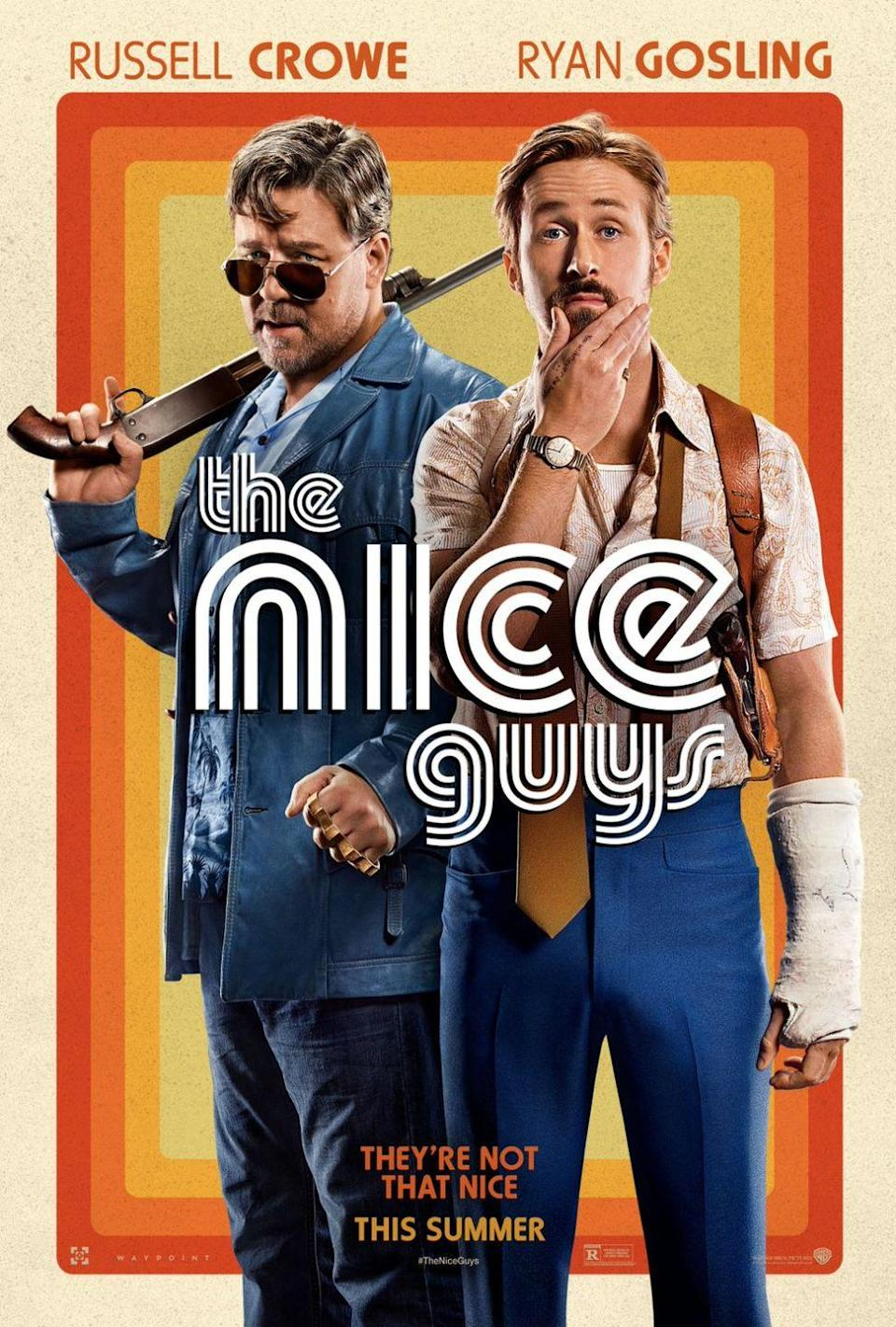 "<p>If you loved <em>Kiss Kiss Bang Bang, </em><em>The Nice Guys</em> is another neo-noir <a href=""https://www.goodhousekeeping.com/life/entertainment/g32418904/best-comedies-on-netflix/"" rel=""nofollow noopener"" target=""_blank"" data-ylk=""slk:comedy film"" class=""link rapid-noclick-resp"">comedy film</a> by the same director (Shane Black). In this one, Ryan Gosling and Russell Crowe star as two L.A. detectives in the '70s who team up to investigate a missing girl and a mysterious death. <br></p><p><a class=""link rapid-noclick-resp"" href=""https://www.amazon.com/Nice-Guys-Russell-Crowe/dp/B01FV2BBF4?tag=syn-yahoo-20&ascsubtag=%5Bartid%7C10055.g.34396232%5Bsrc%7Cyahoo-us"" rel=""nofollow noopener"" target=""_blank"" data-ylk=""slk:WATCH ON AMAZON"">WATCH ON AMAZON</a></p>"