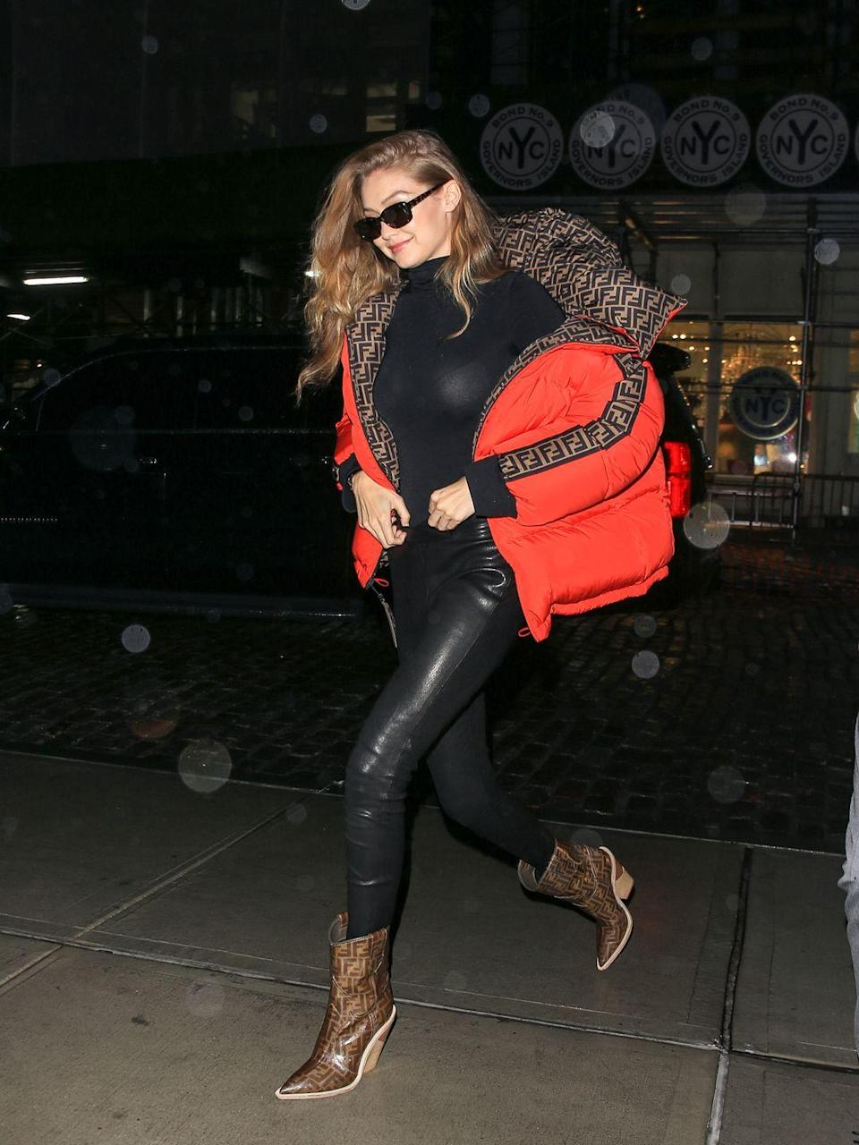 <p>If you just happen to have boots that perfectly match your winter coat, wearing them together a la Gigi Hadid is a must. Go simple with the rest of the outfit to give your statement pieces a starring role. </p>