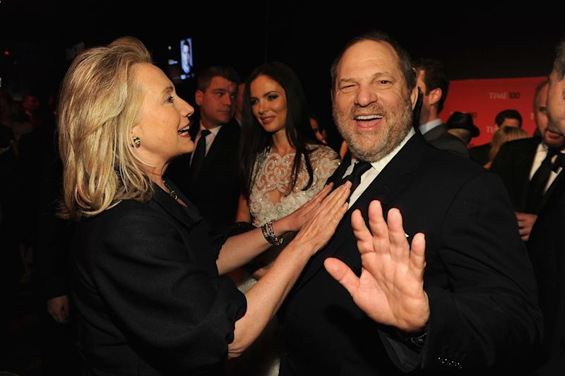 Secretary of State Hillary Rodham Clinton and producer Harvey Weinstein attend the TIME 100 Gala, TIME'S 100 Most Influential People In The World, cocktail party at Jazz at Lincoln Center on April 24, 2012 in New York City. (Larry Busacca via Getty Images)