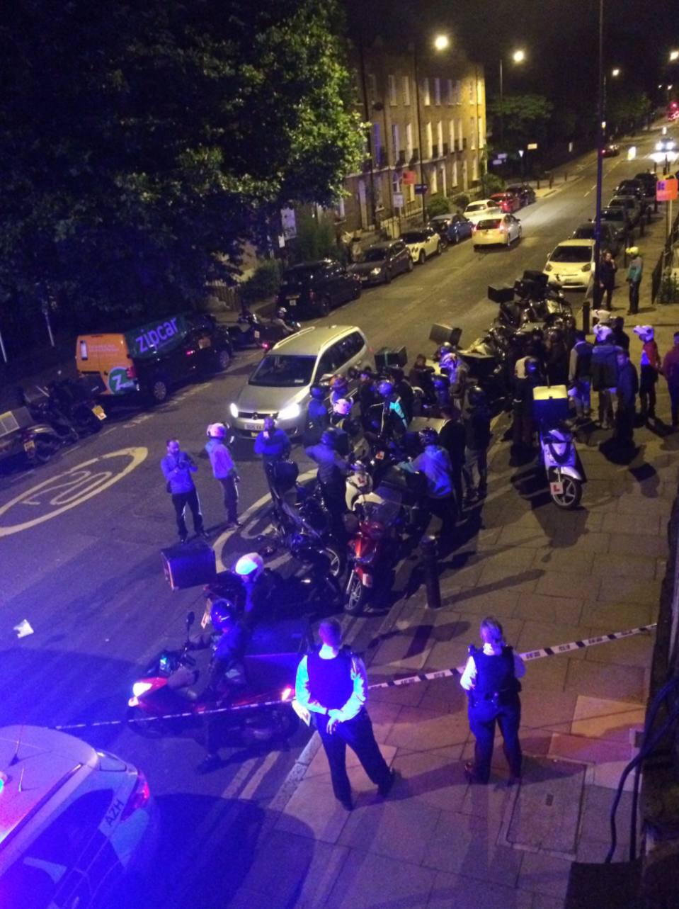 Police and ambulances attend the scene of an attack in Hackney (Sarah Cobbold)