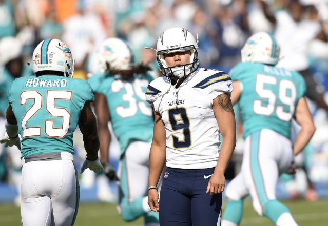 Younghoe Koo was a goat again in the Chargers' second straight loss of the season. (Getty Images)