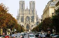 <p>Also called the Cathedral of Notre Dame at Reims, the French High Gothic style structure is a historical landmark for many reasons. It was the sight of 25 coronations of the kings of France, from the 13th to 19th centuries, most notably of Louis VIII in 1223 and Charles VII in 1429 in the presence of Joan of Arc.</p><p>Construction of Reims Cathedral began in 1211, and while it was modeled on the Chartes Cathedreal, Reims incorporated several new architectural techniques of its time, such as bar tracery, which later became a signature element of French High Gothic architecture.</p>