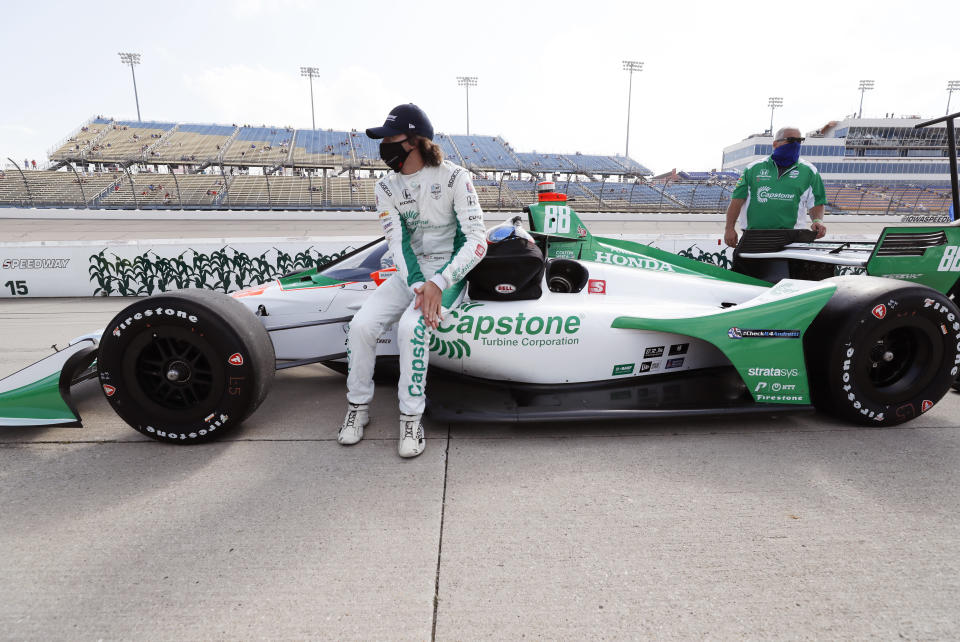 Colton Herta ahead of Friday night's IndyCar Series race at Iowa. (AP Photo/Charlie Neibergall)
