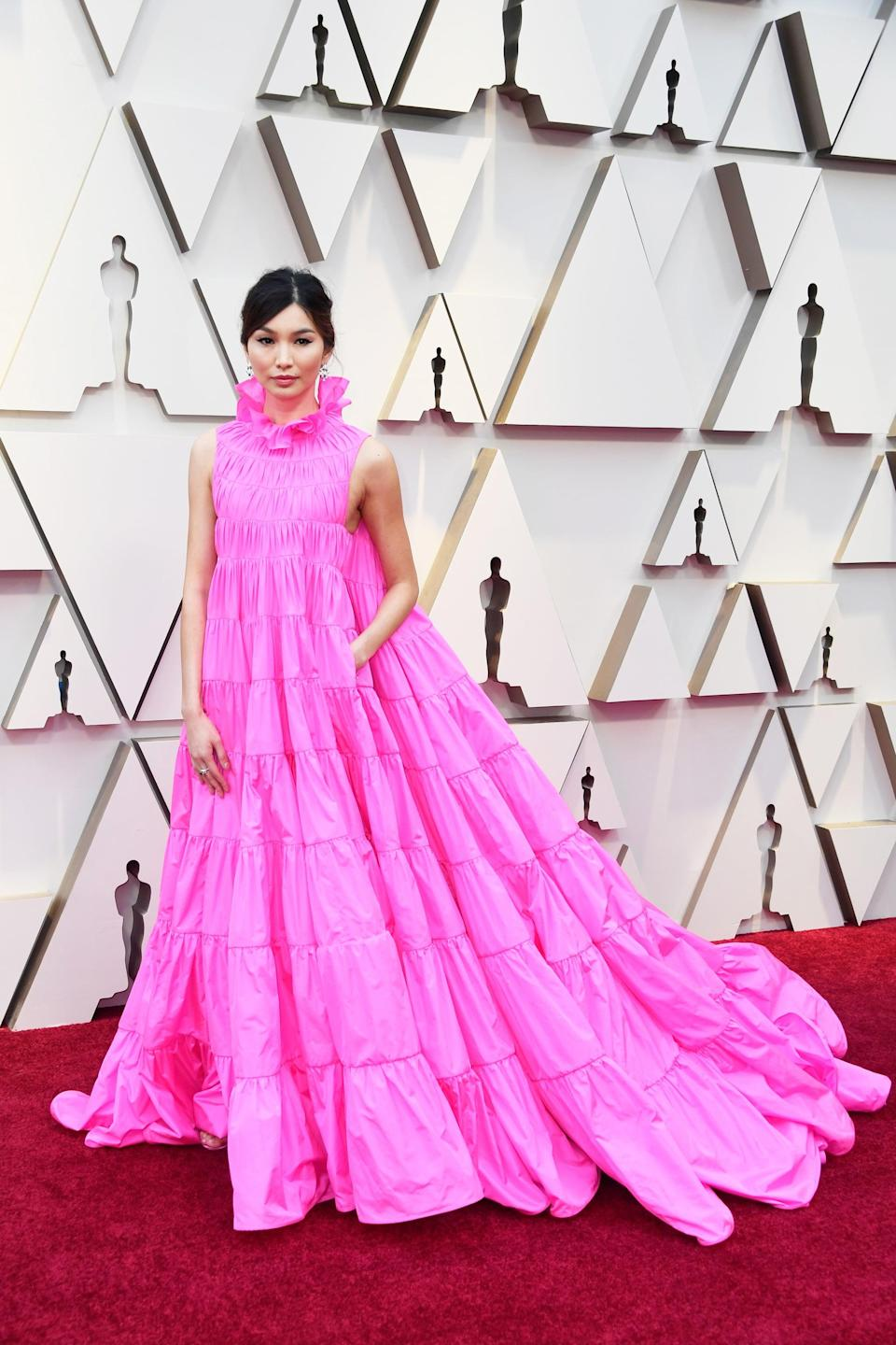 <p><strong>Crazy Rich Asians</strong> star Gemma Chan turned heads at the Oscars in 2019 when she graced the red carpet in a ruffled pink Valentino gown.</p>