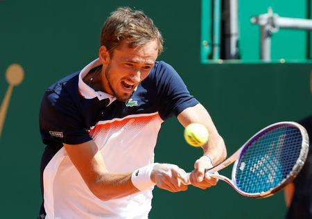 Tennis - ATP 1000 - Monte Carlo Masters - Monte-Carlo Country Club, Roquebrune-Cap-Martin, France - April 20, 2019 Russia's Daniil Medvedev in action during his match against Serbia's Dusan Lajovic REUTERS/Eric Gaillard