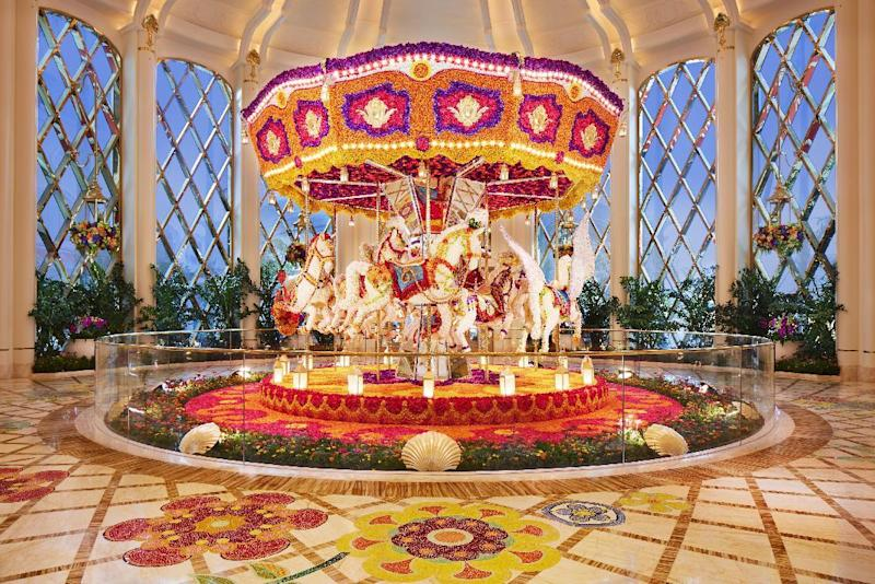 The flower-studded caroussel at Wynn Palace Macau