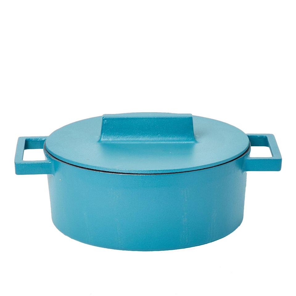 """<p>Though they take their cues from traditional terracotta pots, Italian brand Sambonet's casserole dishes are made from heat-conducting cast iron. Designed by Stefania Vasques, there are several sizes and shapes to choose from, as well as a range of vibrant colours. From £49, <a href=""""https://www.made.com/sambonet-cast-iron-oval-casserole-pot-13-x-10cm-cotto-anise"""" rel=""""nofollow noopener"""" target=""""_blank"""" data-ylk=""""slk:made.com"""" class=""""link rapid-noclick-resp"""">made.com</a></p>"""