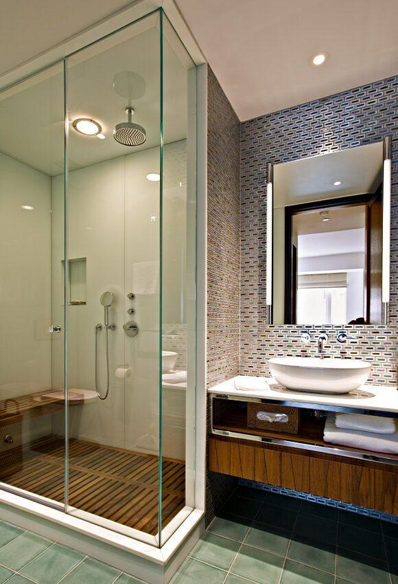 Lavish modern shower inside the Jeffrey Beers-renovated apartment at 15 Central Park West.