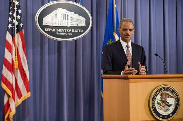 PHOTO: In this Nov. 13, 2009, file photo, US Attorney General Eric Holder holds a press conference to announce that five men accused of the September 11 attacks will be tried in a New York civilian court at the Justice Department in Washington, DC. (Nicholas Kamm/AFP via Getty Images, FILE)