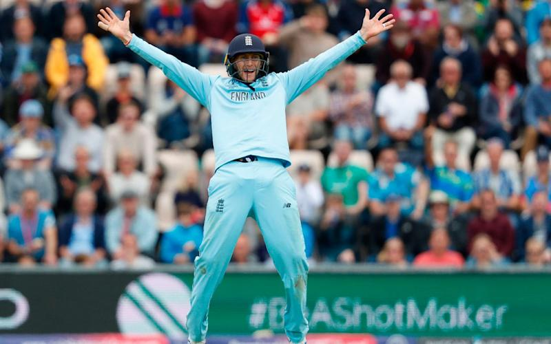 England's Joe Root celebrates after the dismissal of West Indies' Sheldon Cottrell during the 2019 Cricket World Cup  - AFP