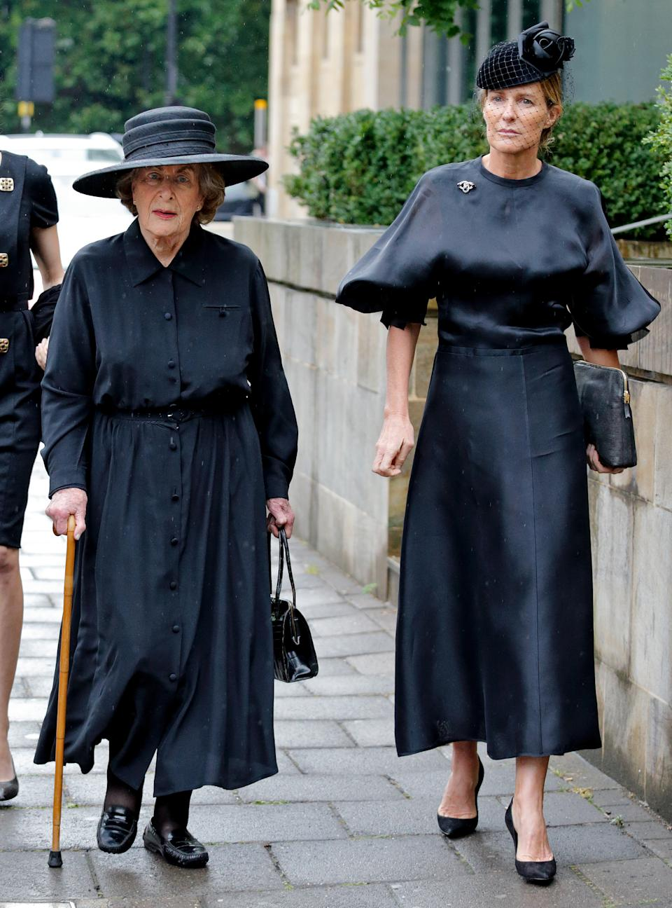LONDON, UNITED KINGDOM - JUNE 27: (EMBARGOED FOR PUBLICATION IN UK NEWSPAPERS UNTIL 48 HOURS AFTER CREATE DATE AND TIME) Lady Pamela Hicks and India Hicks attend the funeral of Patricia Knatchbull, Countess Mountbatten of Burma at St Paul's Church, Knightsbridge on June 27, 2017 in London, England. Patricia, Countess Mountbatten of Burma daughter of Louis Mountbatten, 1st Earl Mountbatten of Burma and third cousin of Queen Elizabeth II died aged 93 on June 13 2017. (Photo by Max Mumby/Indigo/Getty Images)