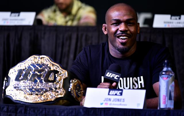 Jon Jones stayed positive while answering questions from the media Thursday at the MGM Grand in Las Vegas. (Getty Images)