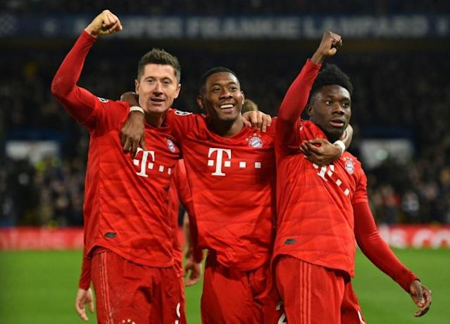 Three and easy: Bayern Munich thrashed Chelsea 3-0 in the first leg of their Champions League last 16 tie on Tuesday (AFP Photo/Glyn KIRK )