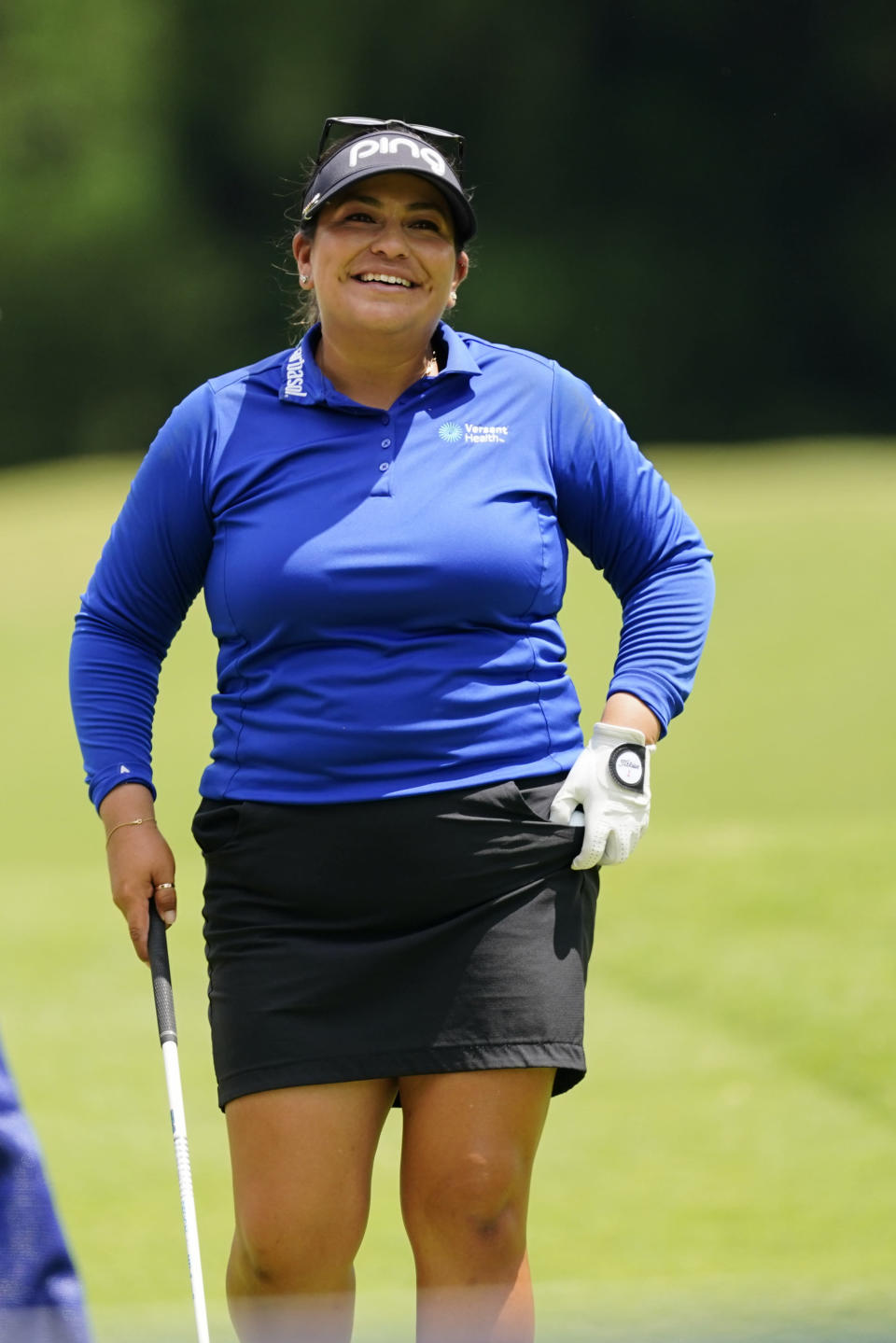 Lizette Salas of the U.S. prepares to tee off on the sixth hole during the third round of play in the KPMG Women's PGA Championship golf tournament Saturday, June 26, 2021, in Johns Creek, Ga. (AP Photo/John Bazemore)