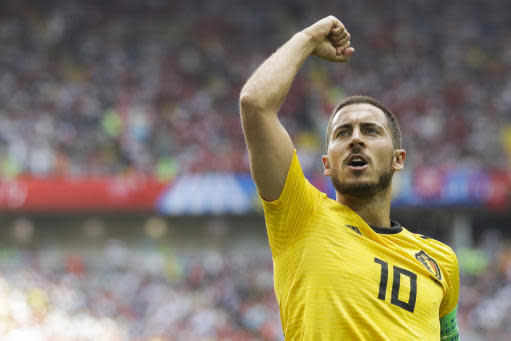 Belgium's Eden Hazard celebrates after scoring his side's fourth goal during the group G match between Belgium and Tunisia at the 2018 soccer World Cup in the Spartak Stadium in Moscow, Russia, Saturday, June 23, 2018. (AP Photo/Matthias Schrader)