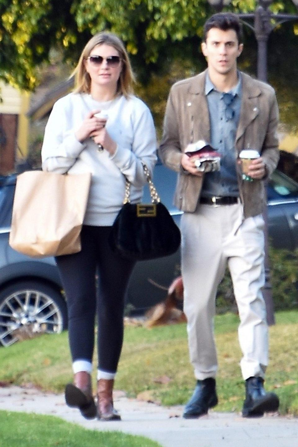 <p>Mischa Barton goes on a coffee run with boyfriend Gian Marco Flamini on Monday in Los Feliz, California.</p>