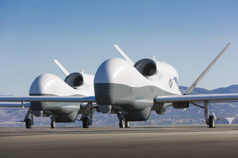 May 21, 2013 - Two Northrop Grumman MQ-4C Triton unmanned aerial vehicles on the tarmac at a Northrop Grumman test facility in Palmdale, California. Triton is undergoing flight testing as an unmanned maritime surveillance vehicle.