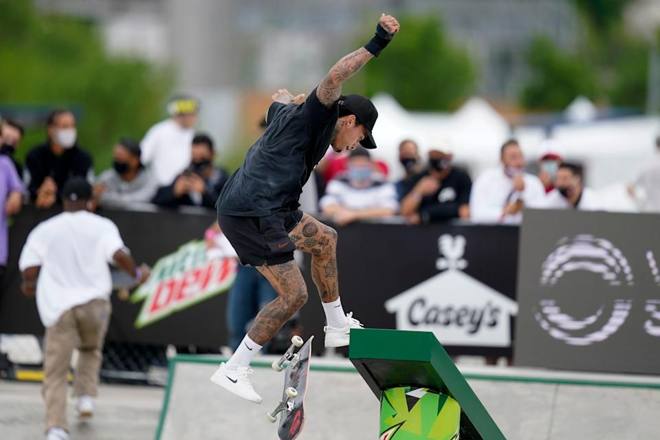Nyjah Huston practices for the Olympic qualifying skateboard event at Lauridsen Skatepark on May 20.