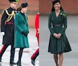 <p>Middleton wore this Emilia Wickstead coat to celebrate St. Patrick's Day in March 2012 and then once again for the same occasion a year later—while pregnant! </p>