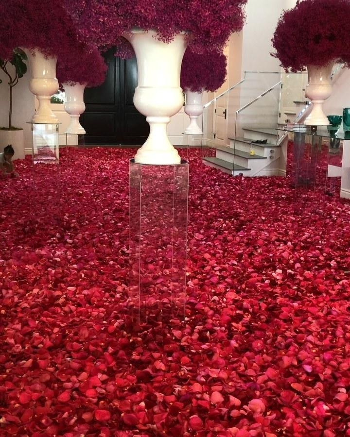 Travis Scott's sea of roses for Kylie Jenner's 22nd birthday.