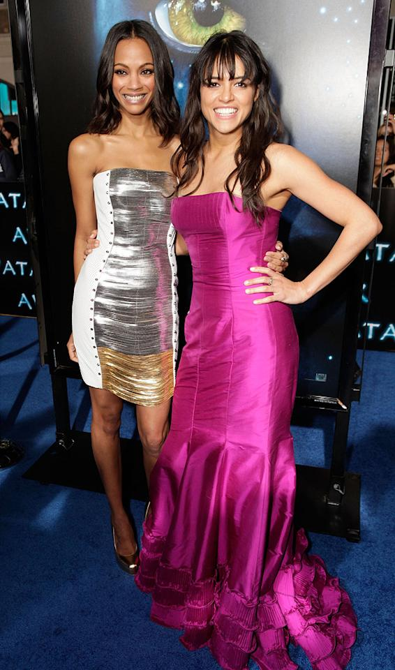 "<a href=""http://movies.yahoo.com/movie/contributor/1800362233"">Zoe Saldana</a> and <a href=""http://movies.yahoo.com/movie/contributor/1800354386"">Michelle Rodriguez</a> at the Los Angeles premiere of <a href=""http://movies.yahoo.com/movie/1809804784/info"">Avatar</a> - 12/16/2009"