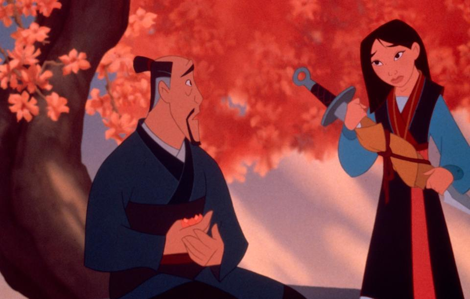 Mulan and her father in the 1998 animated favorite. (Photo: Walt Disney Pictures / Courtesy Everett Collection.)