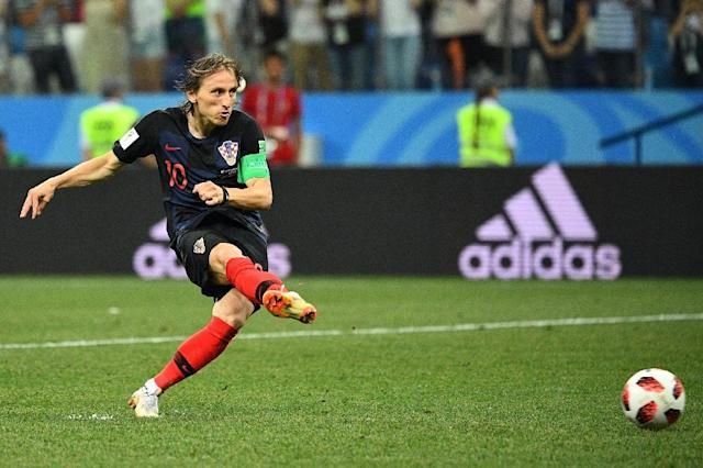 Mentally strong: Luka Modric converts his penalty in a shootout win over Denmark in the World Cup last 16 (AFP Photo/Johannes EISELE)