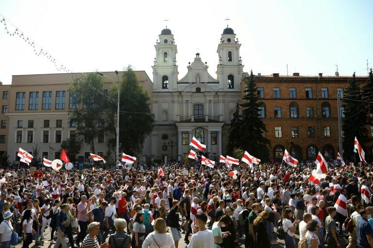 Local media estimate more than 100,000 attended Sunday's Minsk protest