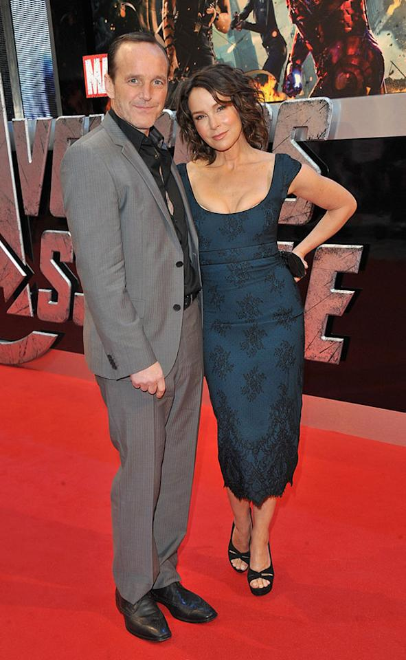 """Clark Gregg and Jennifer Grey attend the London premiere of """"Marvel's The Avengers"""" on April 19, 2012 in London, England."""