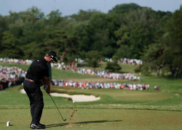 ARDMORE, PA - JUNE 15: John Senden of Australia hits his tee shot on the ninth hole during Round Three of the 113th U.S. Open at Merion Golf Club on June 15, 2013 in Ardmore, Pennsylvania. (Photo by Andrew Redington/Getty Images)