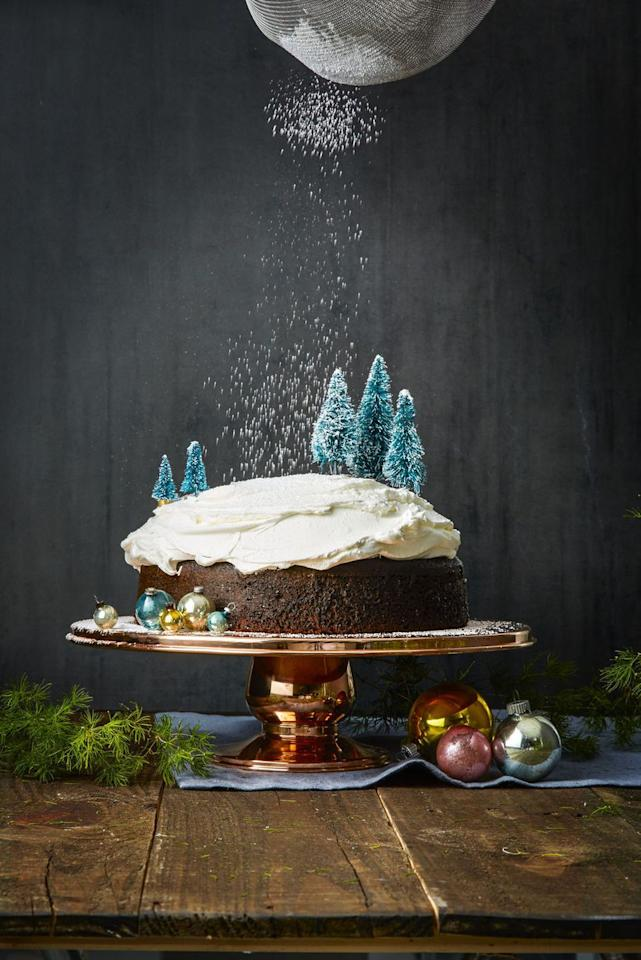 """<p>A sprinkle of powdered sugar on top of this tree-lined cake is the secret to turning a standard chocolate treat into something magical.</p><p><strong>Get the recipe at <a rel=""""nofollow"""" href=""""https://www.goodhousekeeping.com/food-recipes/dessert/a41683/gingerbread-cake-recipe/"""">Good Housekeeping</a>.</strong></p>"""
