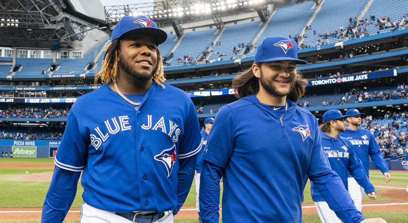 Guerrero Jr., left, and Bichette both debuted in 2019. (Photo by Mark Blinch/Getty Images)