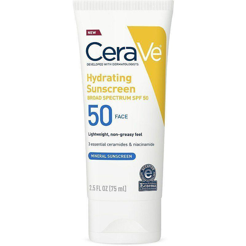 """<p><strong>CeraVe</strong></p><p>amazon.com</p><p><strong>$13.97</strong></p><p><a href=""""https://www.amazon.com/dp/B07KLY4RYG?tag=syn-yahoo-20&ascsubtag=%5Bartid%7C10058.g.35799175%5Bsrc%7Cyahoo-us"""" rel=""""nofollow noopener"""" target=""""_blank"""" data-ylk=""""slk:SHOP IT"""" class=""""link rapid-noclick-resp"""">SHOP IT</a></p><p>Say goodbye to sticky sunscreen. This product contains hydrating ceramides but doesn't leave an uncomfortable film on the skin. With SPF 50, this sunscreen is ideal for even the most sensitive skin types.</p>"""