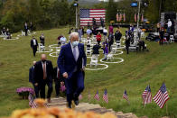 Democratic presidential candidate former Vice President Joe Biden leaves after speaking at Mountain Top Inn & Resort, Tuesday, Oct. 27, 2020, in Warm Springs, Ga. (AP Photo/Andrew Harnik)