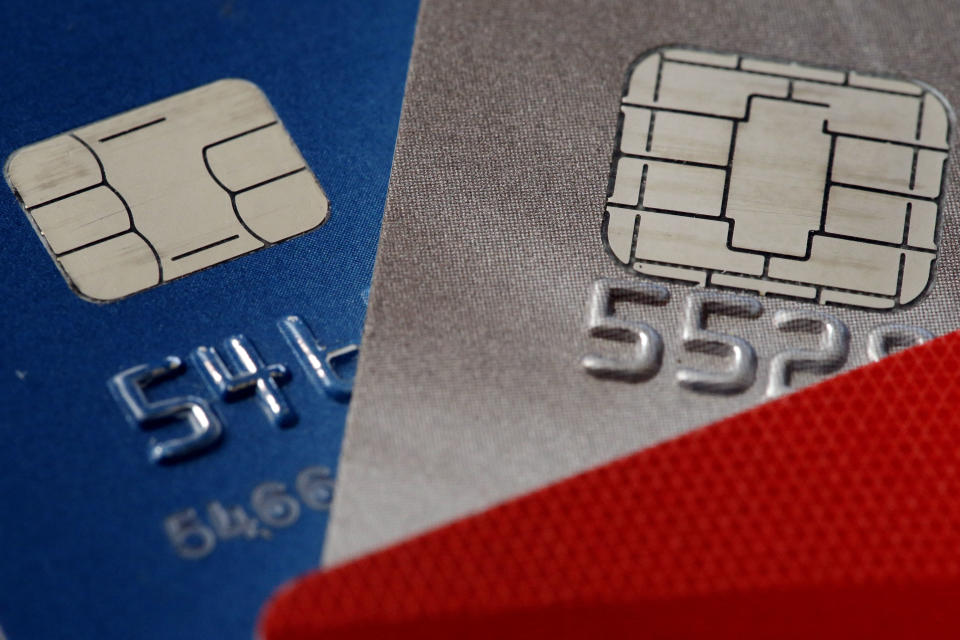 FILE – This June 10, 2015, file photo shows credit cards in Philadelphia. On Tuesday, Aug. 7, 2018, the Federal Reserve releases its June report on consumer borrowing. (AP Photo/Matt Rourke, File)