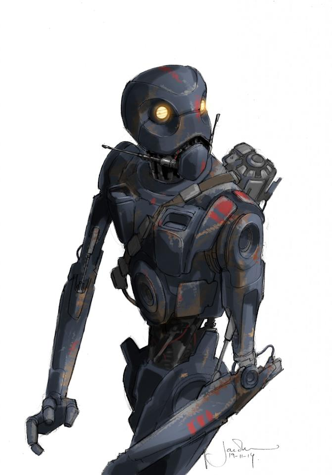 """<p>Notes Kushins: """"K-2SO was a great example of a design that evolved from an original conception, more along the lines of the droid seen on the original Death Star in <i>A New Hope</i>. The <i>Star Wars</i> influences are always embedded, at each stage from the beginning to the final, but it's remarkable how much the final design ended up informing and being informed by the character."""" </p>"""