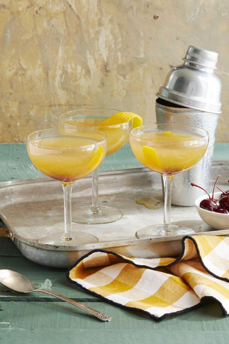 """<p>No need to go out to get this bar-quality drink. You only need apple cider, cognac, Cointreau, and lime juice to make it.</p><p><em>Get the recipe from <a href=""""https://www.countryliving.com/food-drinks/a23326064/cider-sidecar-recipe/"""" rel=""""nofollow noopener"""" target=""""_blank"""" data-ylk=""""slk:Country Living"""" class=""""link rapid-noclick-resp"""">Country Living</a>.</em></p>"""