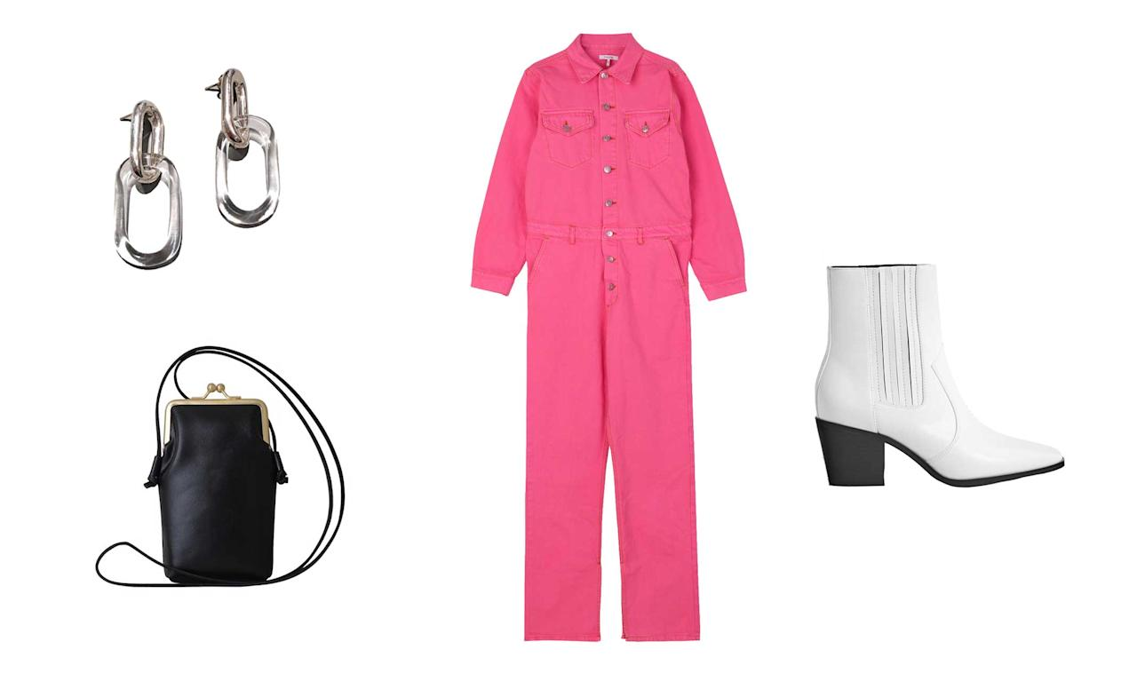 "<p>Come fall, you can never go wrong with a jumpsuit. This effortless piece is a no-brainer, no matter in which color. This hot-pink option is ideal to keep for those fall days when you're feeling lazy about dressing up fun and interesting.<br />Ganni, Denim Jumpsuit, $475,<a rel=""nofollow"" href=""https://www.ganni.com/us/product?g=g&dwvar_F2874_color=Hot%2520Pink&pid=F2874""> ganni.com</a><br />Bershka, Stretch Cowboy Ankle Boots, $69.90, <a rel=""nofollow"" href=""https://www.bershka.com/us/women/shoes/boots-%26-ankle-boots/stretch-cowboy-ankle-boots-c1010193193p101530004.html?colorId=001"">bershka.com</a><br />Most Wanted USA Vintage Sunny Pouch, $35, <a rel=""nofollow"" href=""https://fave.co/2NUMzSQ"">nordstromrack.com</a><br />Jane D'Arensbourg, Sterling Oval and Glass Earrings $340, <a rel=""nofollow"" href=""https://fave.co/2PJ5g9x"">assemblynewyork.com</a> </p>"