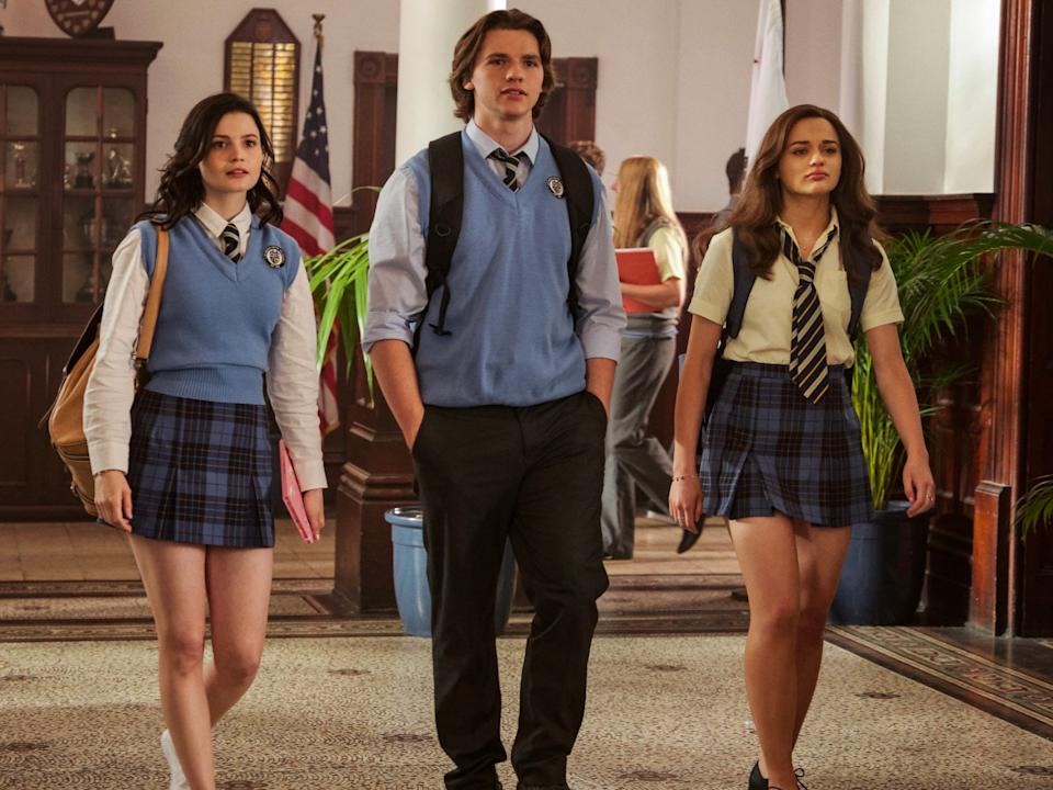 "(L-R) Meganne Young, Joel Courtney, and Joey King in ""The Kissing Booth 2."""