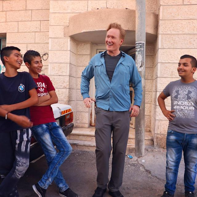 <p>Hanging with some Palestinian children in the West Bank Aida Refugee Camp. They are not impressed with my showbiz stories. #Palestine (Photo: Conan O'Brien via Twitter) </p>
