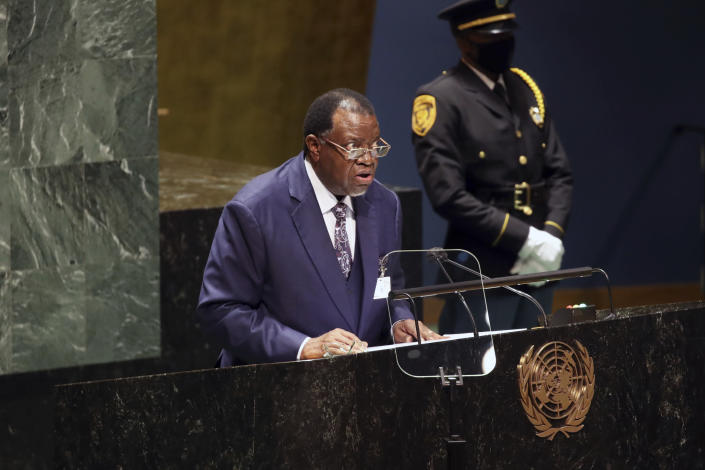The President of Namibia, Hage Geingob addresses the 76th Session of the U.N. General Assembly at United Nations headquarters in New York, on Thursday, Sept. 23, 2021. (Spencer Platt/Pool Photo via AP)
