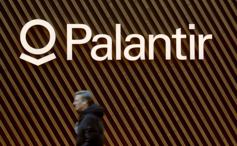 FILE PHOTO: Logo of Palantir Technologies is seen in Davos