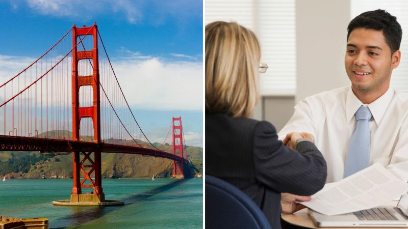 Golden Gate Bridge on the left and a job candidate shaking hands with an interviewer on the right.