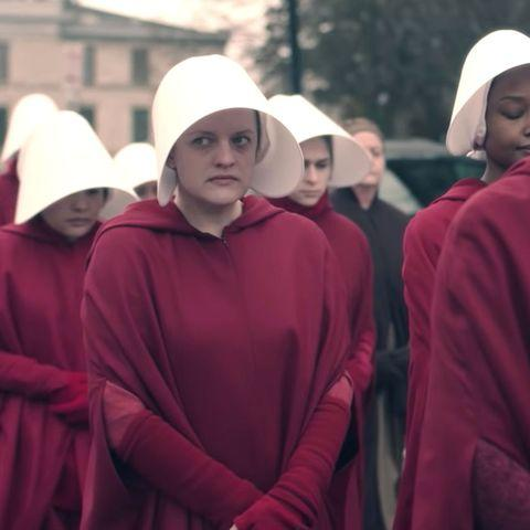 Bridesmaids roasted for red 'Handmaids Tale' jumpsuits: 'Like a cult'. Photo: Hulu.