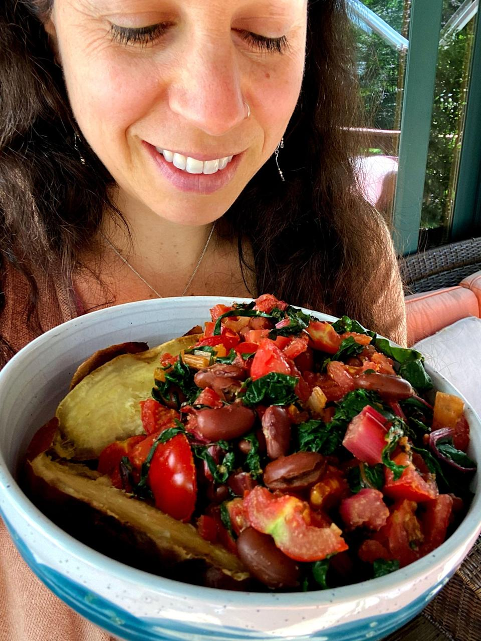 """<p>After eating sweet potatoes every day for a month, I ended up looking leaner, especially in my face, arms, upper back, and waist - another bonus I wasn't expecting! I honestly thought I'd gain weight because so many experts say to cut carbs if you're trying to lose weight. I was eating way more, but as Langevin explained, it was the """"right"""" carbs because they were <a href=""""https://www.popsugar.com/fitness/What-Complex-Carbs-35686730"""" class=""""link rapid-noclick-resp"""" rel=""""nofollow noopener"""" target=""""_blank"""" data-ylk=""""slk:complex carbs"""">complex carbs</a>. </p> <p>Eating sweet potatoes was so satiating, as I mentioned, and it helped cut down on my sugar cravings, so I was definitely eating less baked goods, chocolate, and bread. I honestly wasn't into them as much, because if I was, I would have eaten them since, thanks to intuitive eating, I don't restrict any foods I truly want.</p>"""