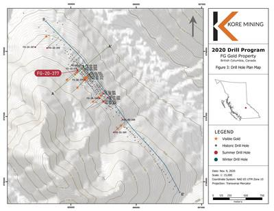 Figure 3 – Plan Map of 2020 Drilling (CNW Group/Kore Mining)