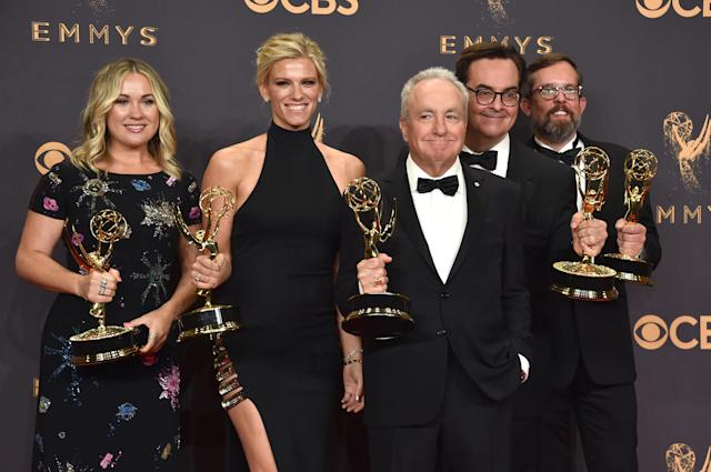 Lindsay Shookus and the <em>SNL </em>team pose with their Emmys on Sept. 17, 2017, in Los Angeles. (Photo: Getty Images)