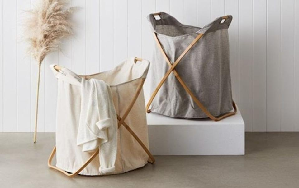 Adairs Anderson Linen Laundry Basket. Source: Adairs